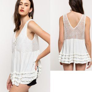 Tiered Ruffle 3D Front Lace Up Sleeveless Tank Top